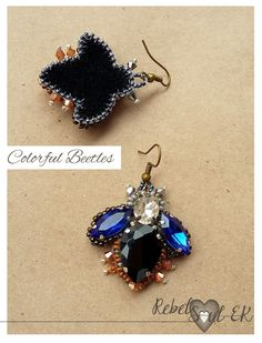 bug earrings bead embroidery RebelSoulEK jewelry