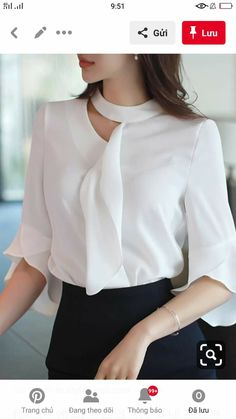 Cut Out Detail Ruffle Half Sleeve Blouse Blouse Designs Silk, Dress Neck Designs, Looks Chic, Mode Hijab, Online Clothing Stores, Women's Clothing, Blouse Styles, Blouses For Women, Fashion Dresses