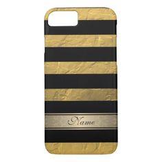 Elegant cute girly chic faux gold stripes monogram iPhone 8/7 case - customizable diy