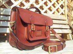 "14"" hand stitched satchel."
