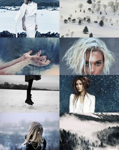 Ice Witches. Their magic manifests in sweeping drifts and creeping patterns. their breaths are tinged with mist, echoing the howl of the north wind. their touch is the fall of snowflakes on bare skin, the spread of frost across a window. they wrap the cold around themselves.