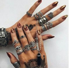 jewel, nails, necklace, ring, silver, tatoo, tumblr