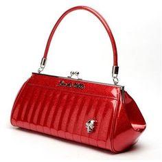 Lux De Ville - Lady Vamp Kiss Lock Red Sparkle Purse