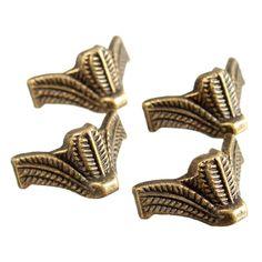 4pcs Mini Antique Brass Vintage Bronze Jewelry Chest Gift Box Wooden Case Decorative Feet Leg Metal Corner Protector With Screws