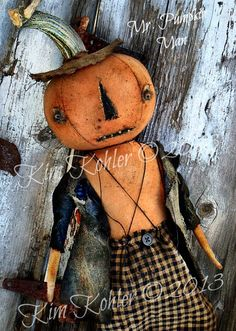 Pumpkin Rag Doll Very Primitive One Of A Kind Original Design Halloween Fall