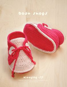 Baby Boat Shoes Crochet PATTERN by Kittying.com / Mulu.us