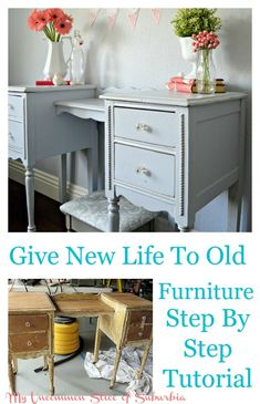 How to refurbish an old desk, step by step tutorial on giving new life to old furniture.