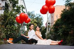 Adorable cat alley engagement