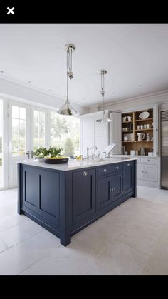 I saw a great example of a muted navy kitchen island with white kitchen cabinets. I saw a great example of a muted navy kitchen island with white kitchen cabinets that would look fab with your dining table (refreshed with a darker stain, pale gray line Marble Kitchen Counters, Blue Kitchen Island, White Kitchen Cabinets, Gray Cabinets, Island Blue, Kitchen Grey, Shaker Cabinets, Kitchen Islands, Painted Kitchen Island