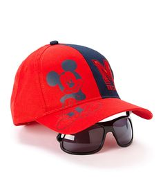 Look what I found on #zulily! Red & Navy Mickey Collegiate Baseball Hat & Sunglasses by Mickey Mouse #zulilyfinds