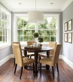 Dining: Grey + white + timber (Paint Valspar Morning Lake) master bedroom..love this color for dining room