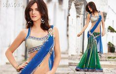 blue & green. It's so beautiful I love there collection ♥  Hindu / indian bride Wear saree, lehenga, choli from seasonsindia. the model is Neha Dalvi or Maria Sokolovski