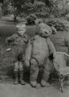 """From J. Shutong's """"Kid with Bear"""" Pinterest board: """"Vintage photo of little boy with BIG Teddy bear. 1949."""" When I was a kid, my little teddy bear sure seemed about this big to me! Now, however, it does appear that it was much smaller than I imagined it in my childhood mind."""