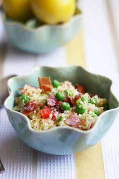 Pea and bacon quinoa salad - gluten free.