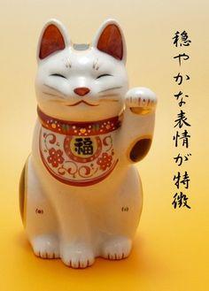 万福唐草招き猫(左手上げ・大)
