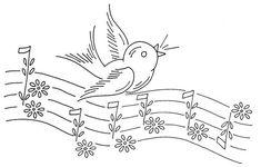 Embroidery pattern bird on musical notes - free cross stitch patterns crochet knitting amigurumi Bird Embroidery, Hand Embroidery Patterns, Vintage Embroidery, Cross Stitch Embroidery, Christmas Embroidery, Fabric Painting, Needlework, Primitive Snowmen, Primitive Crafts