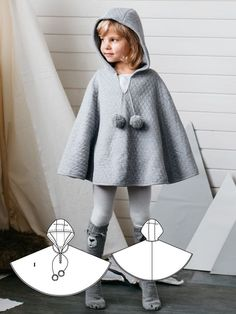 Giant pompoms give a whimsical touch to the cape of plaid-patterned sweatshirt fabric. Two layers of fabric are used for the hood, to make it especially warm.. #burdastyle #kids #collection #sewing #pattern #sew #diy