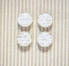 Vintage Writing Glass Magnets // Kitchen Magnet, Office Deco, Vintage Magnet, Fridge Magnet, 1'' Magnet, Set of Four Magnets, Glass Magnet de la boutique SomniumBoutique sur Etsy