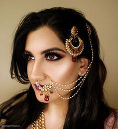 Shaadi, dulhan, bridal makeup, bridal jewelry, nosering, jhoomar, pink smokey eye, indian bridal…