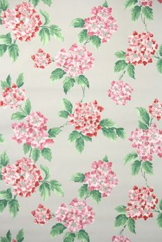 lovely pink and red hydrangeas on vintage wallpaper pattern from the 1950s.