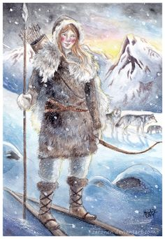 Skadi by Zaronen (Old Norse Skaði) is a giantess and a goddess of winter in Norse mythology. She was once married to the god Njord(sea god). However, their marriage was a failure; Njord couldn't stand the cold and dreariness of the mountains, and Skadi couldn't stand the light and noise of Njord's home by the seashore, so the two parted ways.