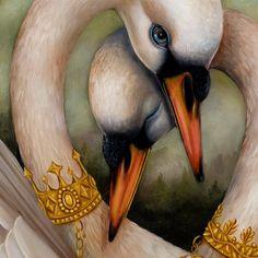 "Details from ""The Cherished"" by Jennybird Alcantara, swan lake Swans, Illustrations, Illustration Art, Swan Pictures, Owl Bird, Animal Totems, Swan Lake, Large Art, My Animal"
