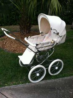 Emmaljunga-English Pram, white leather carriage, converts to stroller, 14 inch spoke wheels, original price $899, asking $350. Call for more details. $350.00 USD