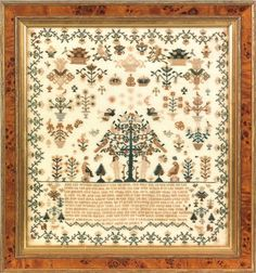 English silk on linen sampler dated 1806, wrought by Mary Ann Bates