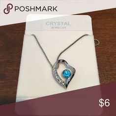 Blue crystal necklace Silver plated necklace with blue crystal and cz's. Jewelry Necklaces