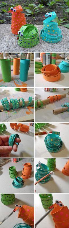 Temibles serpientes con tubos de cartón
