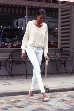 white denim with light pink heels