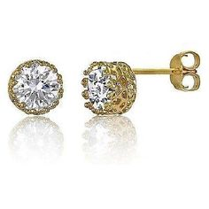 1-5ct-Fancy-Crown-Brilliant-cUT-Signity-CZ-Stud-Earrings-14K-Gold-Plate-Silver