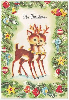 Vintage Greeting Card Christmas Cute Reindeer Deer Whitman Glass Ornaments j867