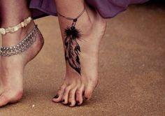 Feather ankle bracelet ink.