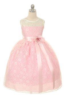 MB_272LP - Flower Girl Dress Style 272 - Sleeveless Lace Dress with Floral Detail - Light Pinks - Flower Girl Dress For Less