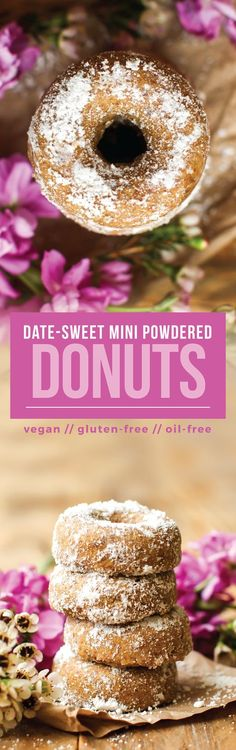 The healthiest vegan gluten-free mini powdered donuts made with oat flour, sweetened with dates, and coated with one of 10+ healthy sugar alternatives!