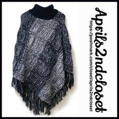 """PONCHO Pullover Tassel Fringe 💟 NEW WITH TAGS 💟  PONCHO Pullover Cape  * Poncho sleeves  * Soft knit fabric w/texture print  * A longer length & lightweight for layering; Relaxed & subtly oversized fit  * Turtleneck & tassel fringe hem  * Approx 30-34"""" long plus fringe  * Pullover loose knit slouchy style Fabric: 100% acrylic Color: Black Combo Item:B93100 * 🚫No Trades🚫 ✅ Offers Considered*✅  *Please use the blue 'offer' button to submit an offer. Boutique Accessories Scarves & Wraps"""