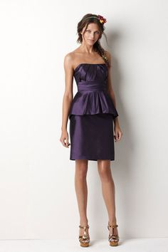 Strapless A-line tea-length taffeta