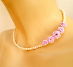 Rosas rosados - Collar romántico - collar Minimal - collar hecho a mano