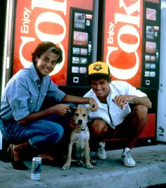 George Michael and Andrew Ridgeley with dog