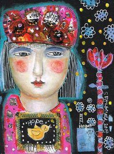 Mixed Media Painting Original Modern Folk Art by kittyjujube