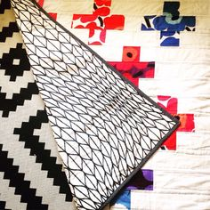 Colourful Swiss Cross Quilt made with marimekko by karlacola
