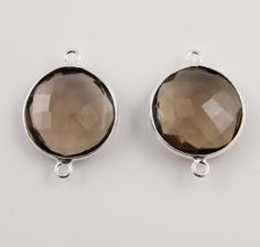 Natural Smoky Topaz  Bezel COIN Shape Gemstone by Beadspoint, $7.99