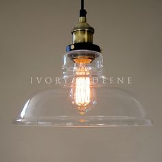 Antique Glass Pendant Lights | ... LEXIS Glass Industrial Filament Pendant Light-Vintage Brass Fittings