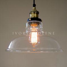Antique Glass Pendant Lights   ... LEXIS Glass Industrial Filament Pendant Light-Vintage Brass Fittings