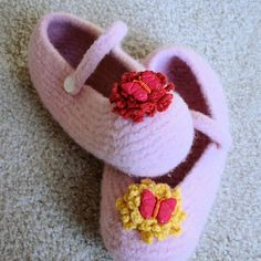 Flowers and butterflies decorates these pink slippers by FeltHere, $6.00