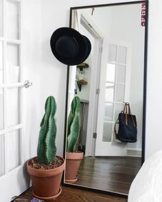 Some of us have more than one of these plastic-rimmed throwaway mirrors from Target or the like hanging from the doors of our apartments or leaning lazily against its walls. When you're ready for an upgrade, we love this Queen Anne-Style Floor Mirror from Horchow or this minimalist-perfect infinity mirror from CB2. We're also currently on a mad search for a rose-tinted floor mirror..