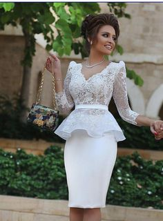 Long Sleeves Knee Length Homecoming Dresses,Sheath Lace Prom Dress,Dress For Homecoming
