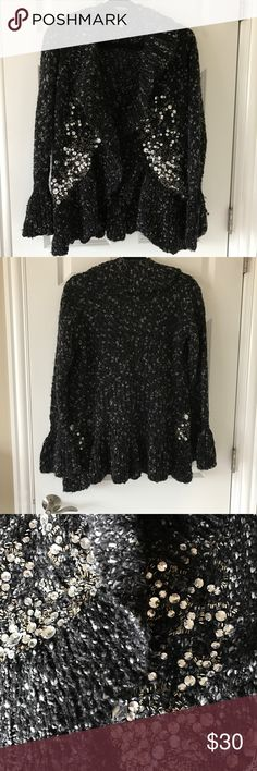 "BostonProper Jeweled Chunky Knit Ruffled Cardi Super cute, unique & in excellent condition.  Worn twice.  Black chunky knit with gray.  Clear jewels and crystals on front.  All intact.  Size Medium but runs large.  I'd say it fits like a LARGE. Bell flared cuffs. Ruffled front neckline.  Bust 21"" across, length 25"" Boston Proper Sweaters Cardigans"