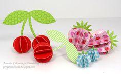 3D Paper Cherries, Strawberries, Blueberries